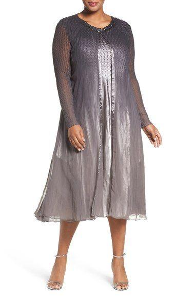 Komarov Charmeuse Dress with Long Chiffon Jacket (Plus Size ...