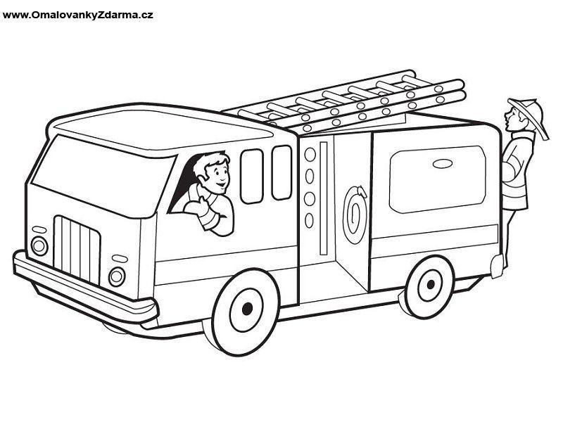 Omalovanka Fire Truck Drawing Firetruck Coloring Page Fire Trucks