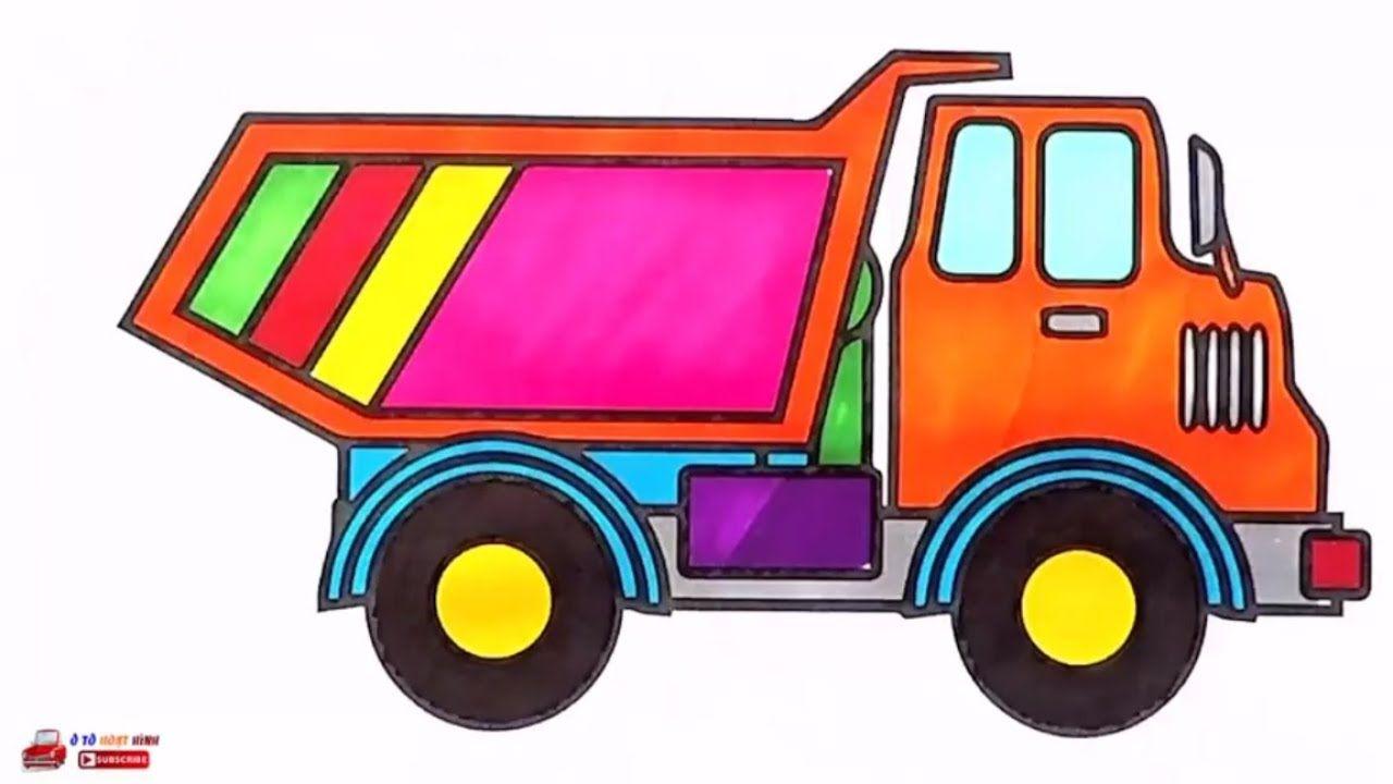 Ô tô hoạt hình - Bé tập vẽ và tập tô màu xe tải, xe