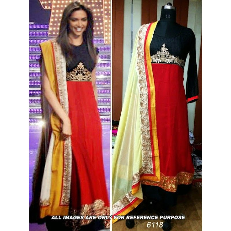 Deepika-Padukone-Red-Bollywood-Replica-Designer-Suit | Bollywood ...