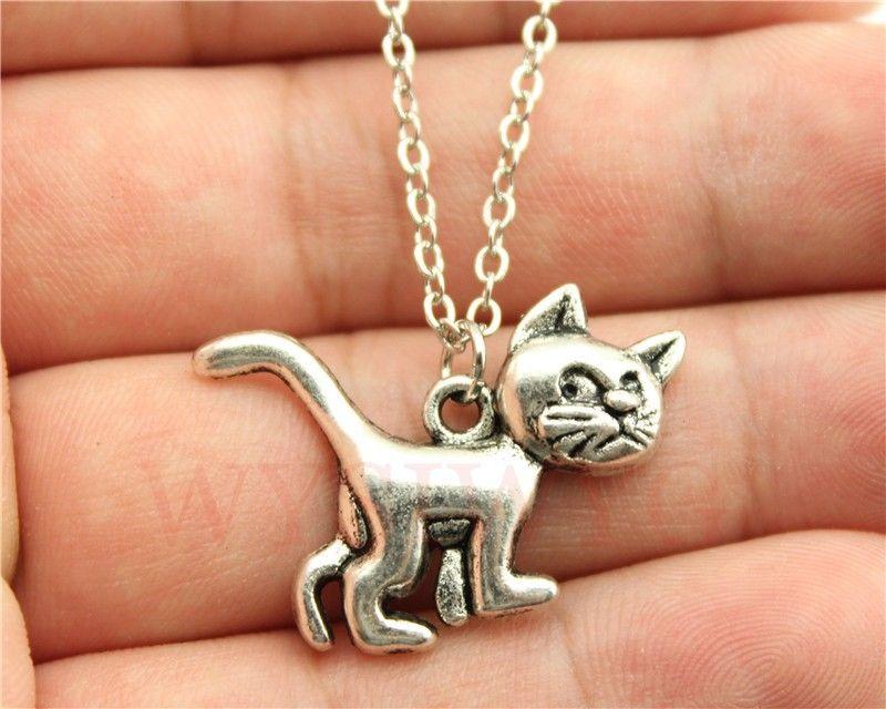 Wysiwyg 간단한 빈티지 골동품 실버, 골동품 청동 색 귀여운 고양이 펜던트 목걸이