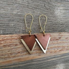 Photo of Leather Triangle Dangle Earrings in Metallic Bronze and Gold – Lightweight Geometric Leather Earrings
