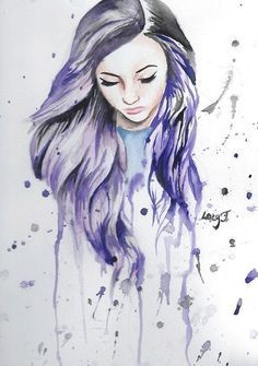 Purple Hair Girl Drawing Google Search Art Watercolor Girl