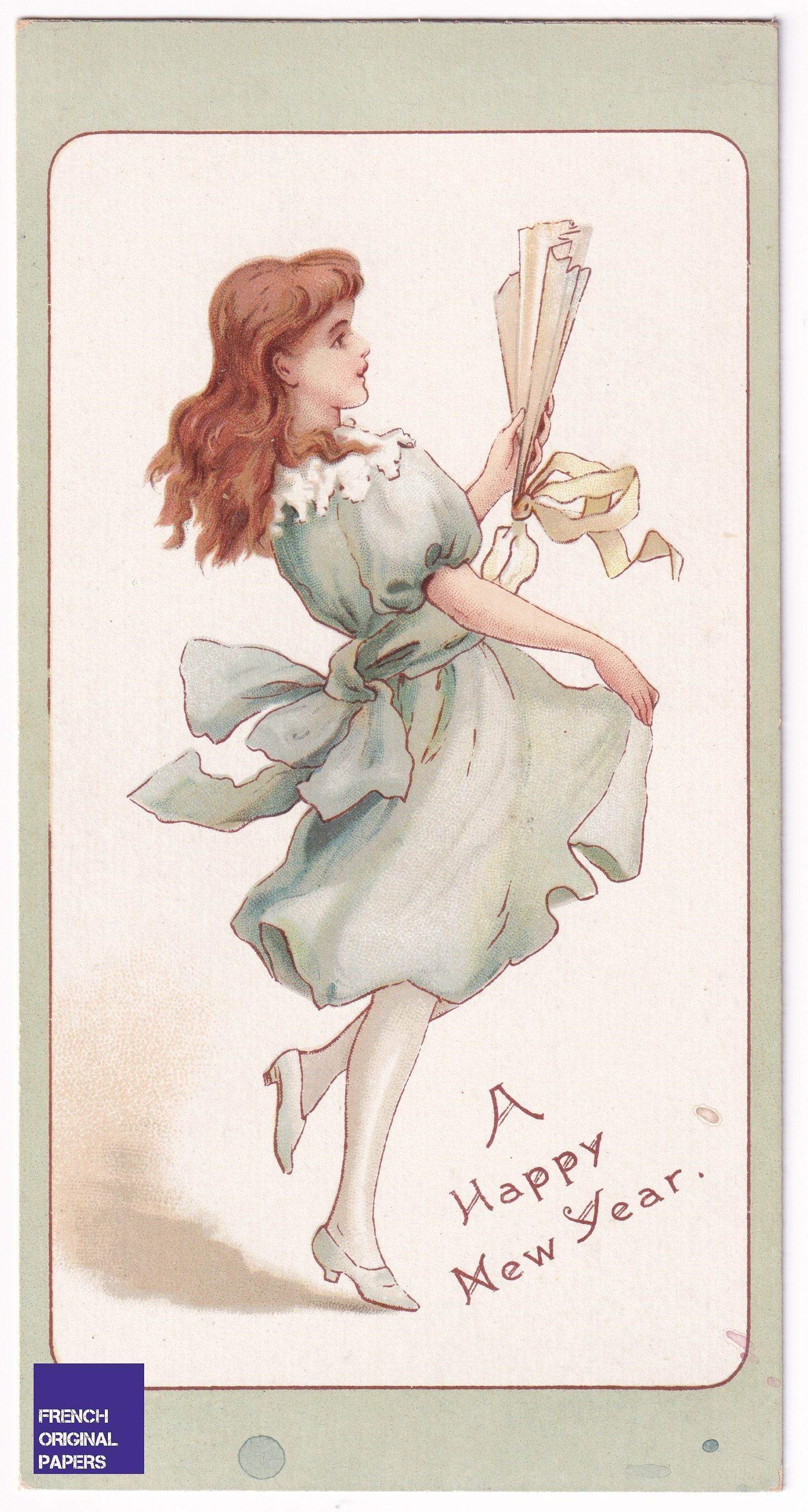 New Year's Greeting 1898 antique Victorian Era card old vintage graphism chromolithography ephemera girl with green dress & range dance #voeuxbonneannée