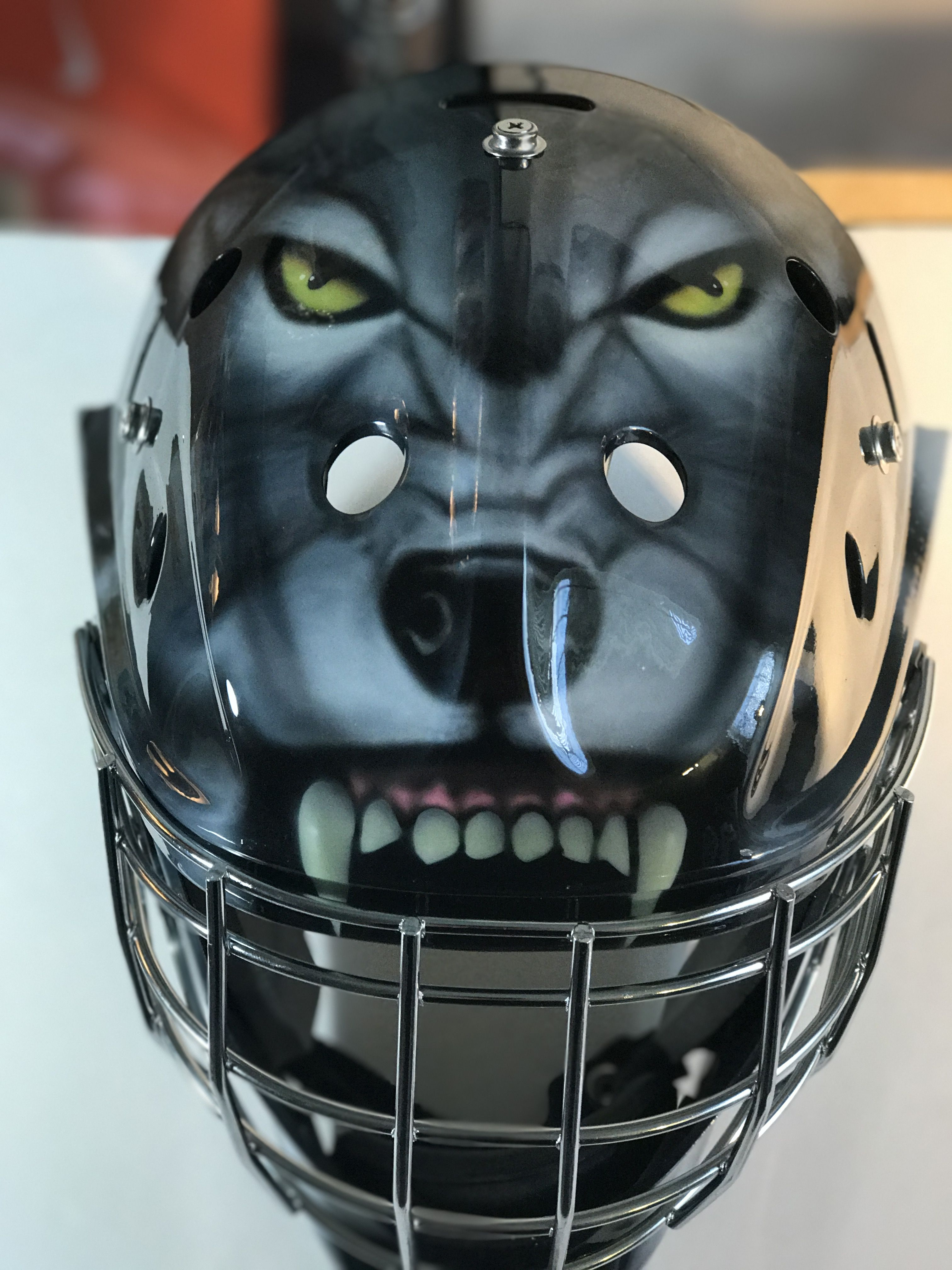 We just finished painting this wolf goalie mask | Goalie Masks ...