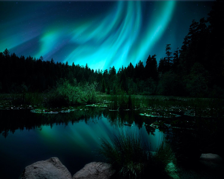 Northern Lights Photo, Aurora Borealis Photo, Landscape