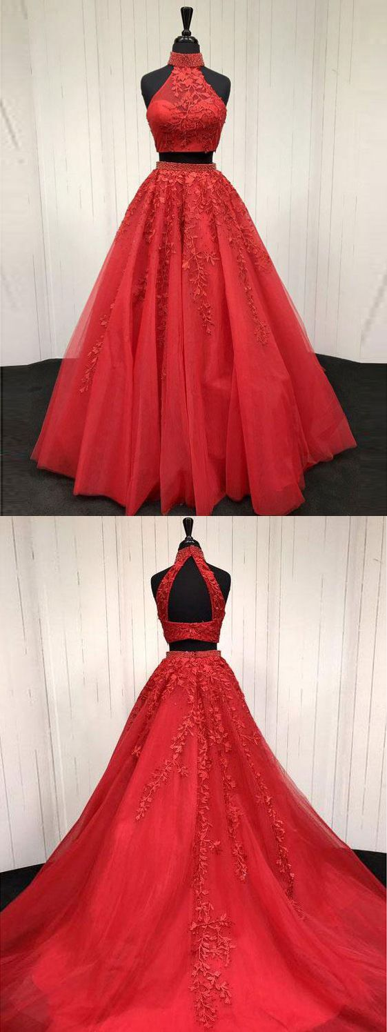 Lace appliquéd two piece prom dresses long cheap halter ball gowns
