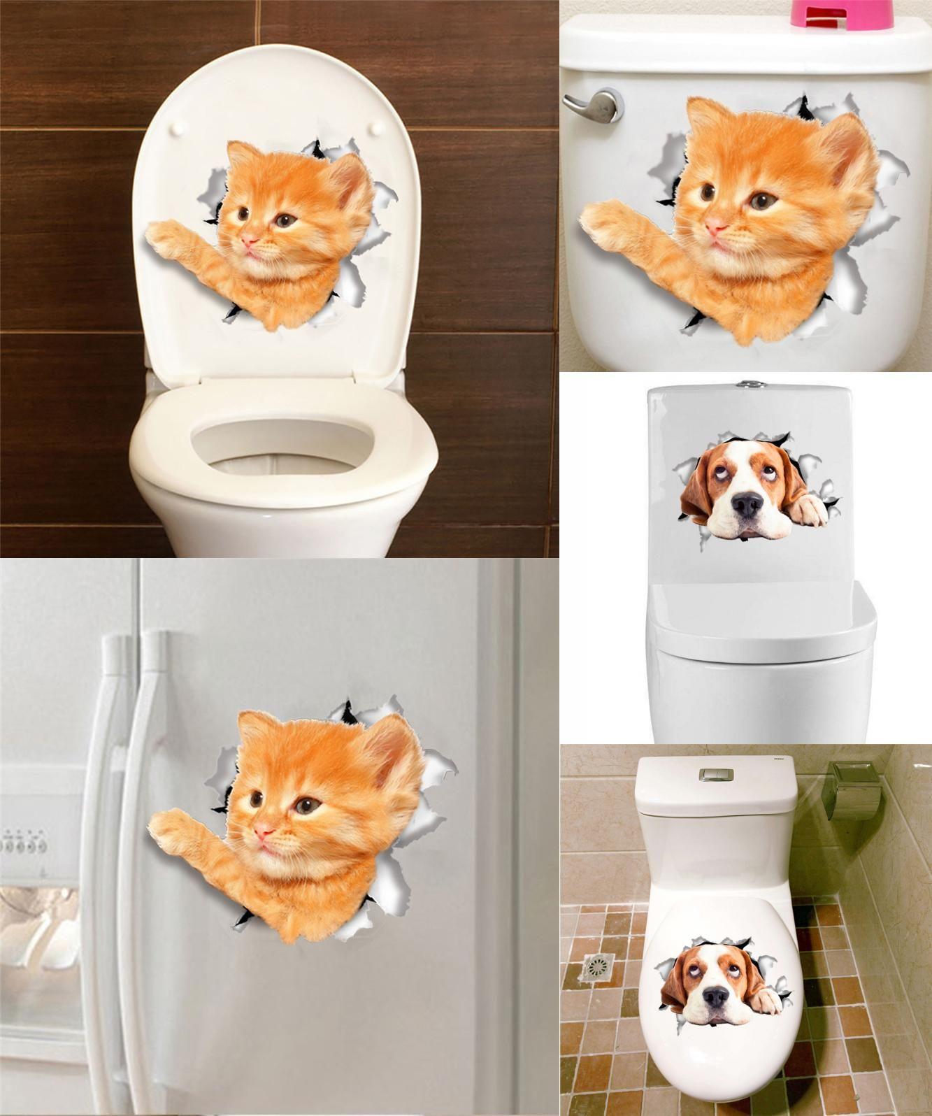 Visit to buy d effect cats dogs wall sticker toilet door