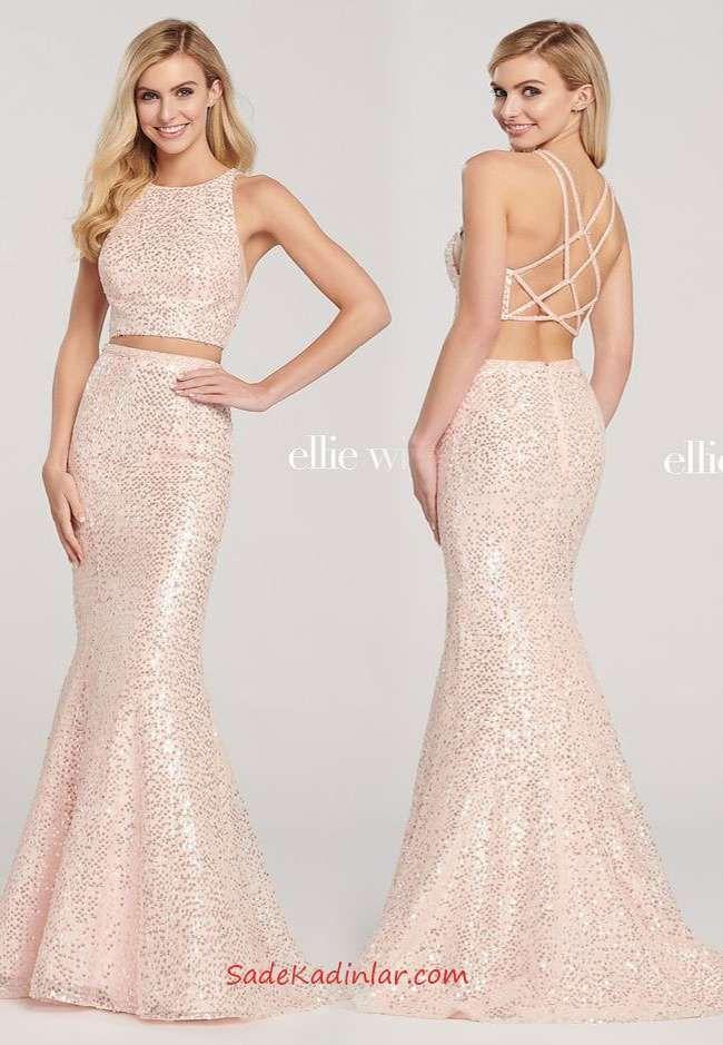 2020 Payetli Uzun Abiye Krem Uzun Balik Iki Parca Kolsuz Sirt Dekolteli Payetli Elbise The Dress Elbise Moda Stilleri