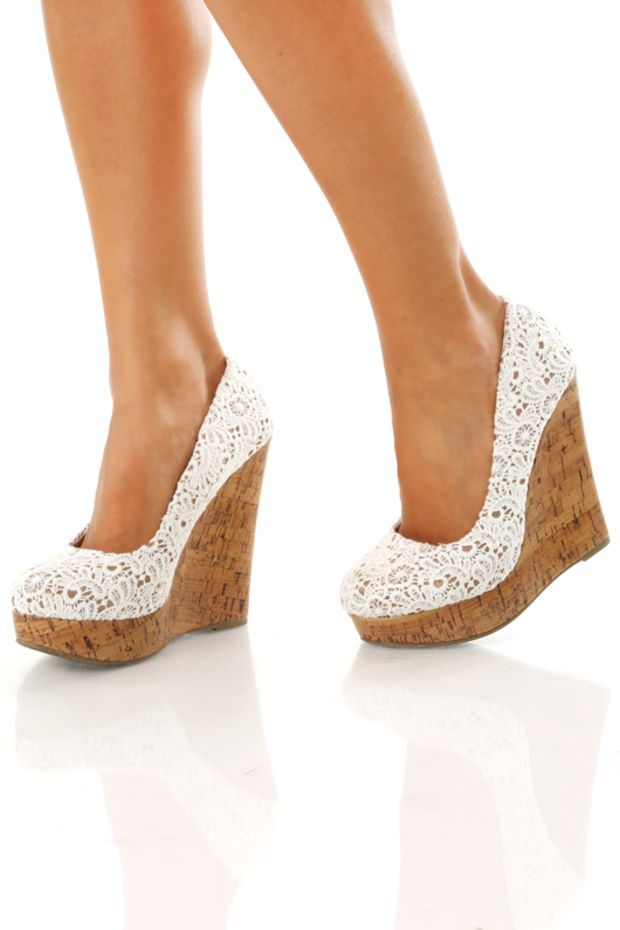 ad9f53266b6 The Long Lace Wedges: White | Products that I love | Shoes, Lace ...