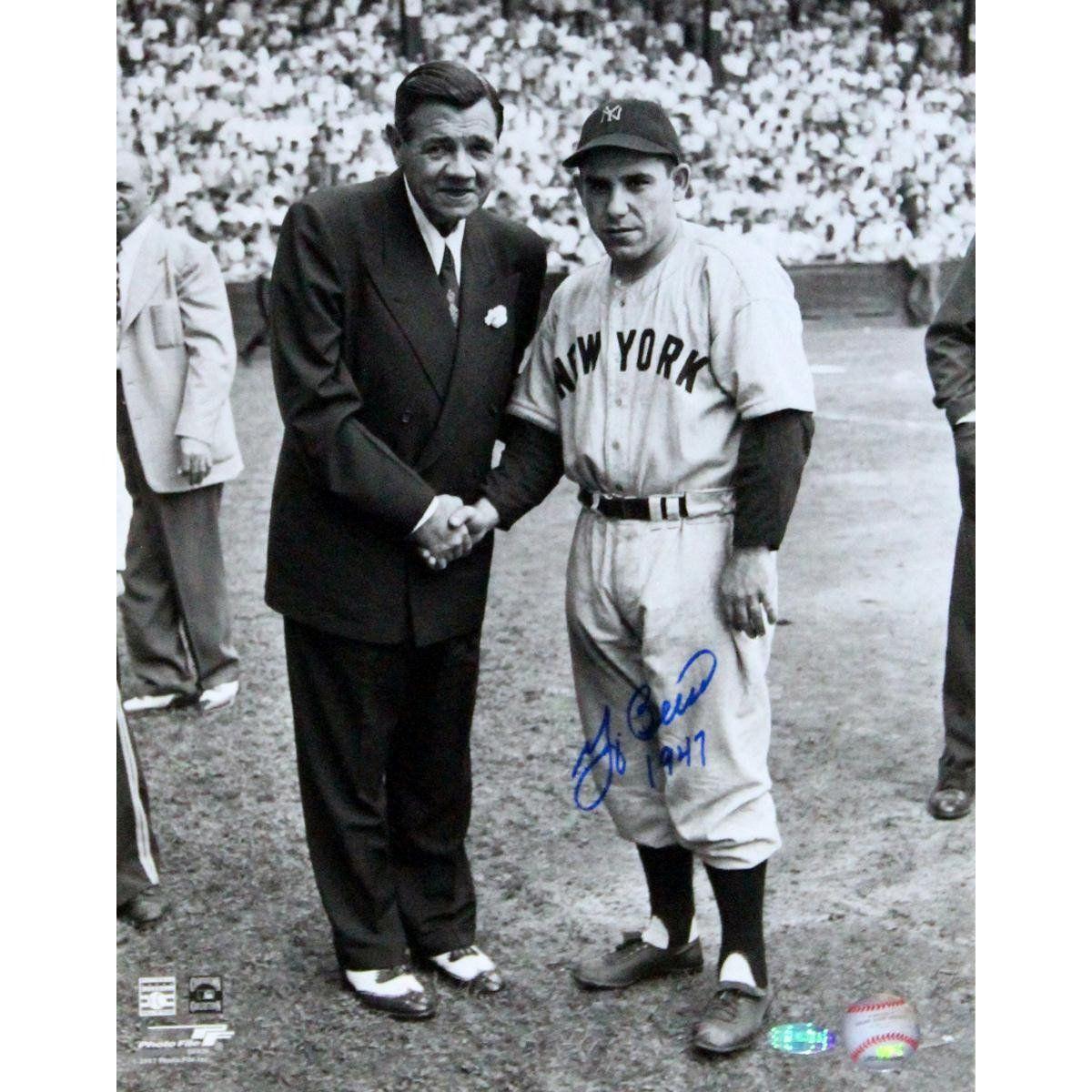 Yogi Berra W Babe Ruth Bw 11x14 Vertical Photo W 1947 Insc Yogi Berra New York Yankees Babe Ruth
