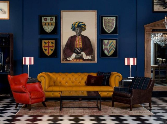Salon jaune bleu rouge oxford   inspiration maison   Pinterest ...
