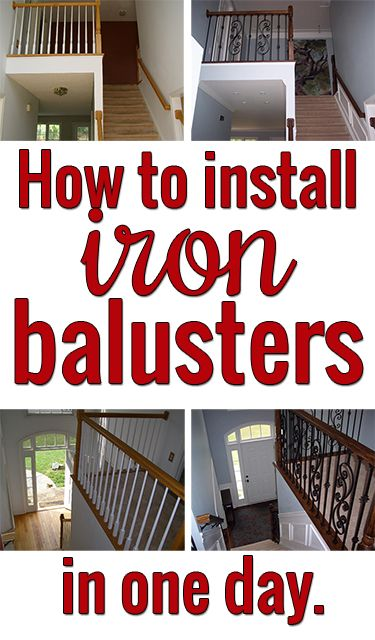 Install iron balusters to glam up your staircase! Surprisingly easy and inexpensive!