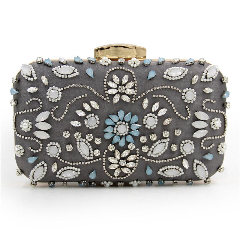 Women Party Handmade White Pearl Clutch Bag Bridal Wedding Beaded Hand bags  Metal Clutches Hard Case 55ded0c9fa9f