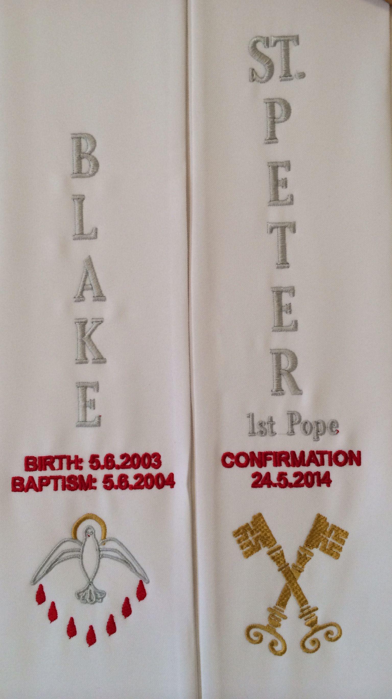 Blakes Confirmation sash