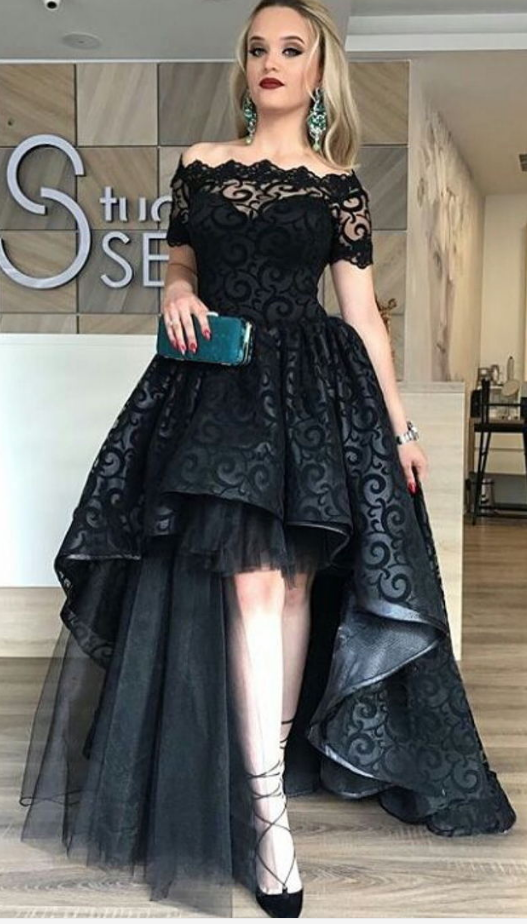 c660f2779324 Black Lace Evening Dress 2017 Ball Gown Off Shoulder Appliques Short Sleeve  Long Party Gowns vestido de festa Cheap High Low Prom Dresses