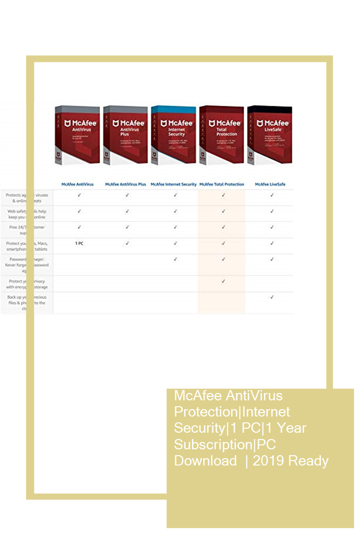 McAfee AntiVirus Protection|Internet Security|1 PC|1 Year