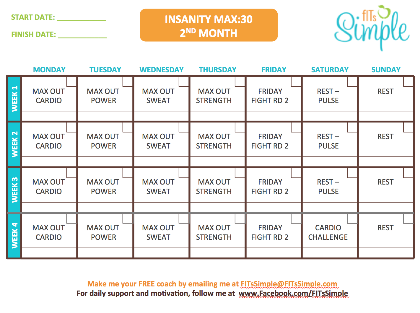 Insanity Max  Workout Calendar  Free Download  Insanity Max
