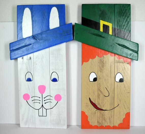 Photo of Reversible easter bunny leprechaun pallet decoration, st patricks day holiday art, front porch seasonal design, repurposed shipping crates