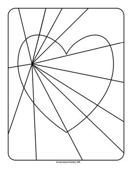 Op art hearts coloring pages op art for Op art coloring pages