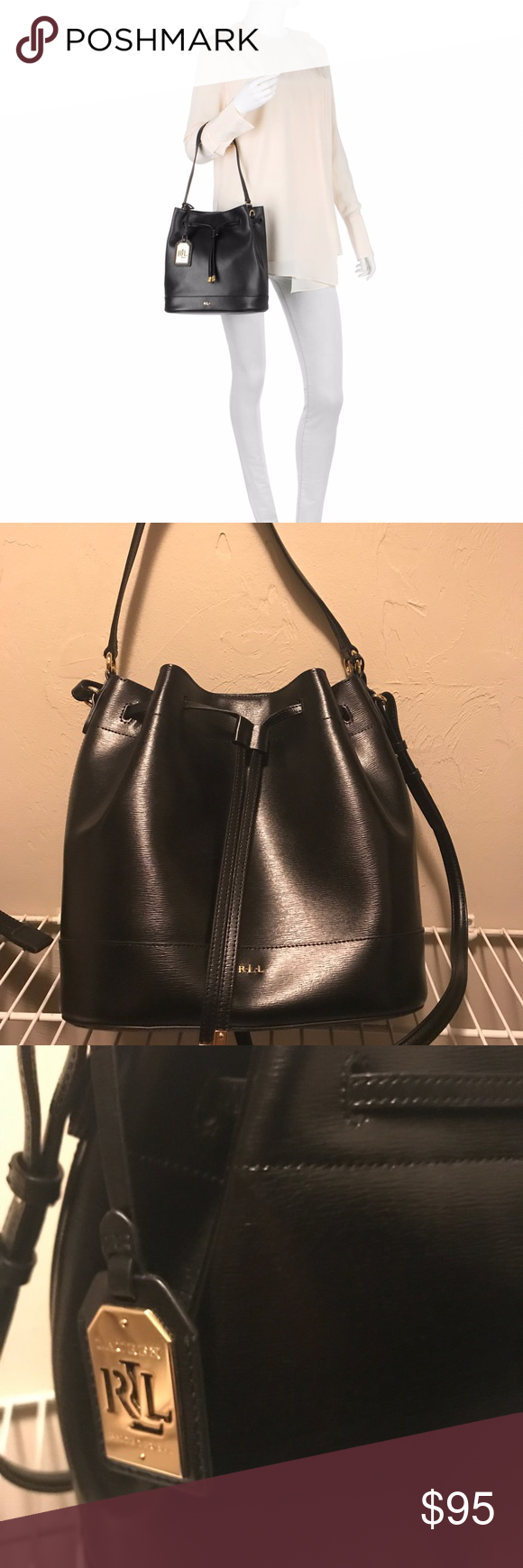 5fe8e83d68a1 Ralph Lauren Tate Black Leather Bucket Handbag Ralph Lauren RLL Tate black  leather bucket drawstring tote  hand bag  purse. Made of textured saffiano  ...