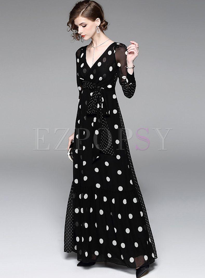 Elegant Dot Print V-neck Maxi Dress in 2019  9c2d711462b6