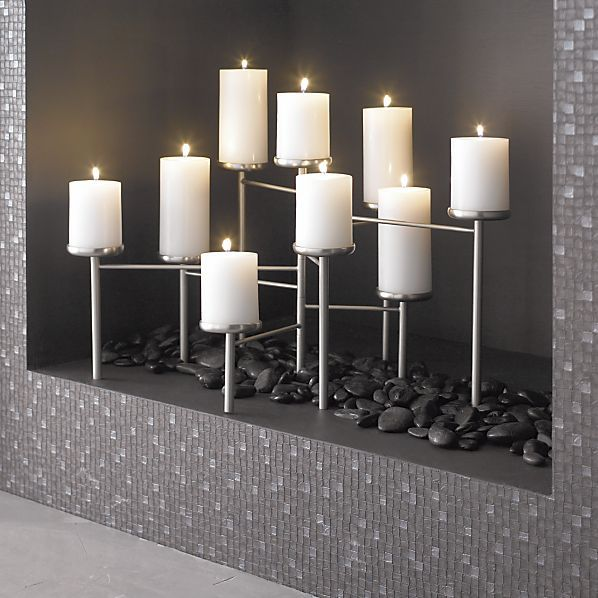Pewter Fireplace Candelabra In Fireplace Accessories