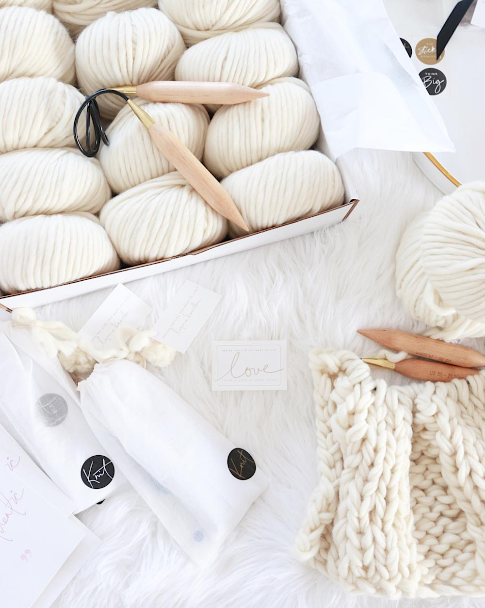 Make your own chunky knit blanket. These DIY kits make it