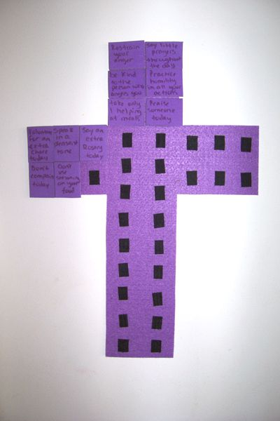 Here is an idea I came up with, to help our family perform small penances and acts of love for Jesus. I compiled a list of small sacrifices and acts of love and wrote them on small pieces of purple...