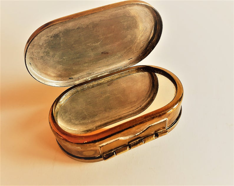 Antique Vintage Swedish Double Lidded Copper Snuff Box With Etsy Engraved Initials Lidded Rings For Men