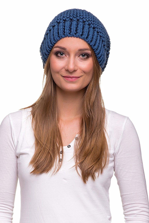 eeb3a24e815 Women s Winter Slouchy Oversize Beanie Pom Pom Knit Hat - Navy Blue - Mole  - CI1887K6LOC - Hats   Caps