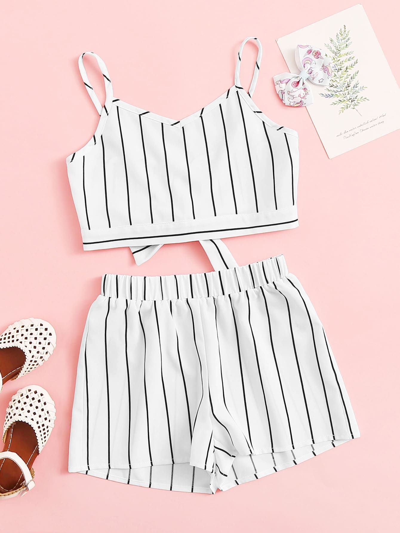 Girls Knot Back Striped Cami Top & Shorts Set #stripedcamitops Girls Knot Back Striped Cami Top & Shorts Set #Ad , #sponsored, #Striped#Cami#Girls #stripedcamitops