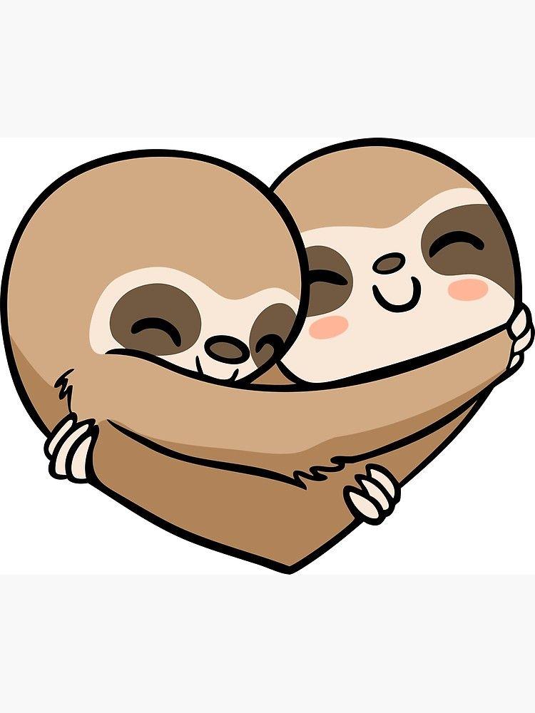 Sloth Heart Greeting Card By Miszasta Cute Animal Drawings Kawaii Cute Animal Drawings Sloth Drawing