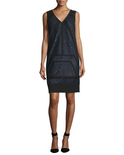 Sleeveless Lace-Inset Shift Dress, Marine/Noir