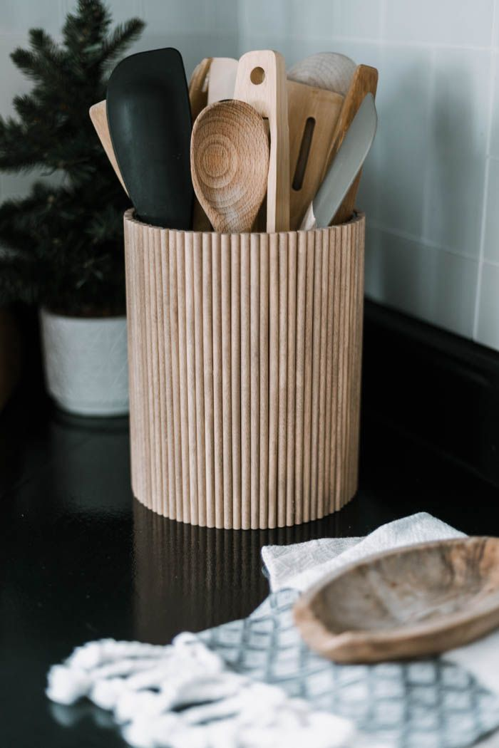 Photo of Fluted DIY Utensil Holder [from dollar store supplies!]