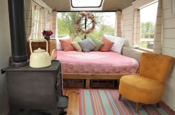 Transforming a Big Yellow School Bus into a Cozy Home The winter