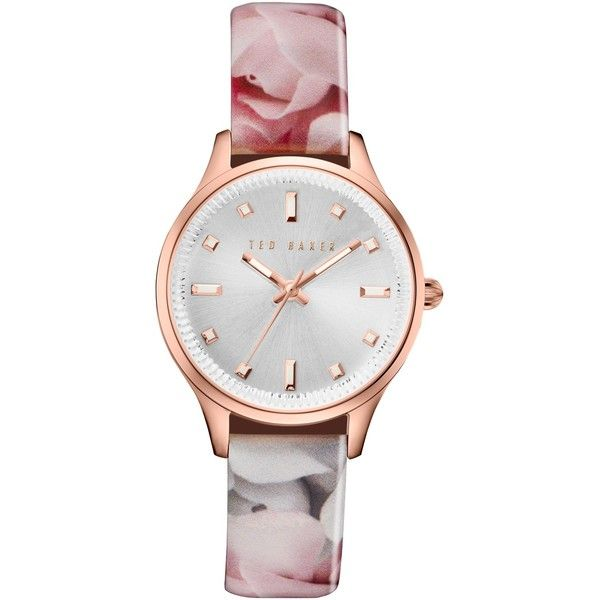 Ted Baker Women's Josie Date Floral Leather Strap Watch , Multi/Silver (12.090 RUB) via Polyvore featuring jewelry, watches, leather-strap watches, ted baker watches, water resistant watches, silver wrist watch и silver dial watches
