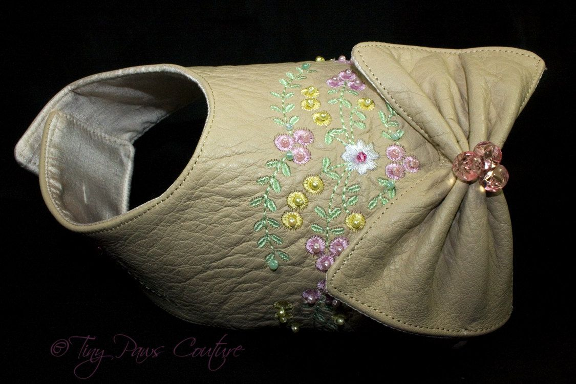 Leather Designer Dog Harness Vest, Beige, Embroidered,  Hand Beaded. $115.00, via Etsy.