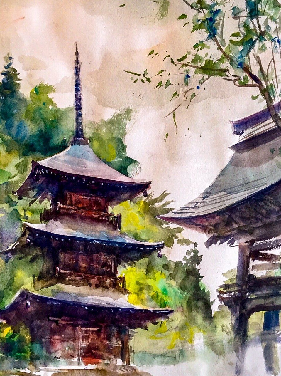 The Nameless Temple Watercolor Painting Painting Watercolor