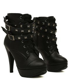 e242f54fa26 Buckles Studded High Heels Pump Ankle Booties Boots. CUTE ...
