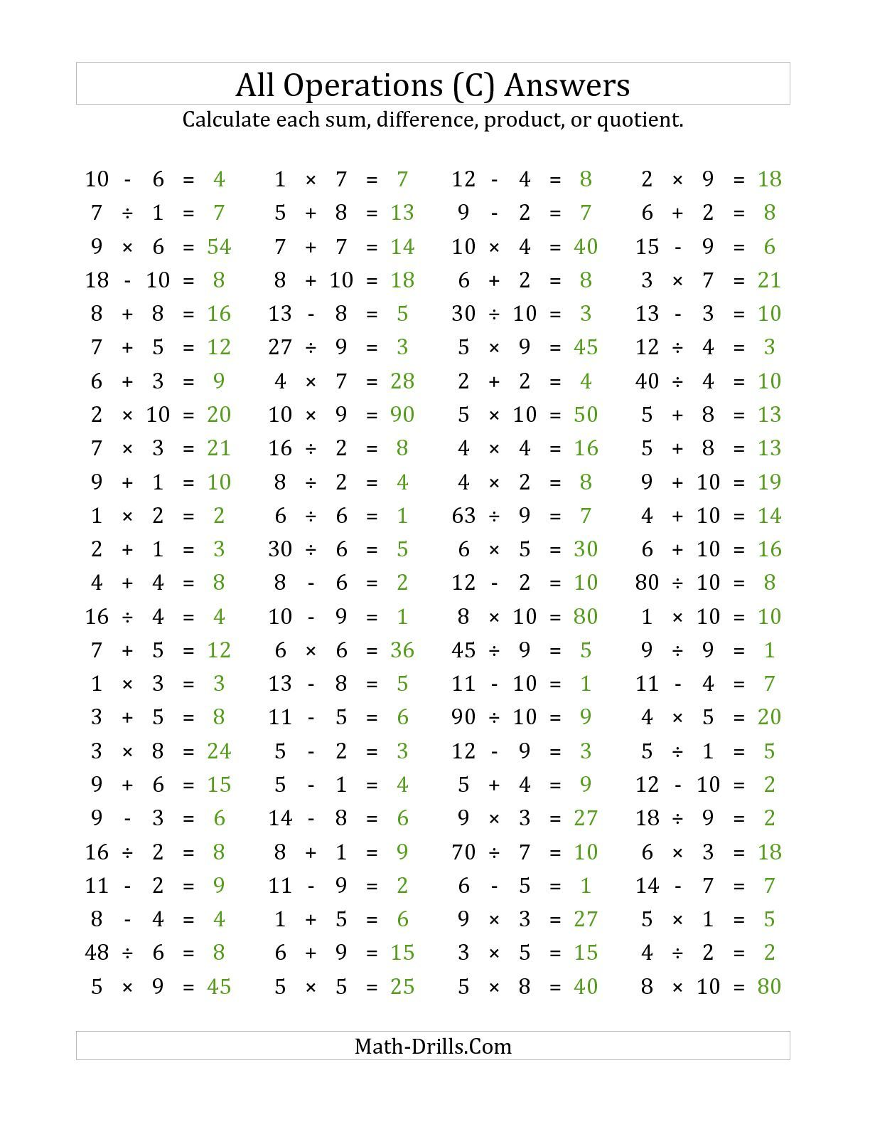 Answer page for the 100 Horizontal Mixed Operations Questions (Facts ...