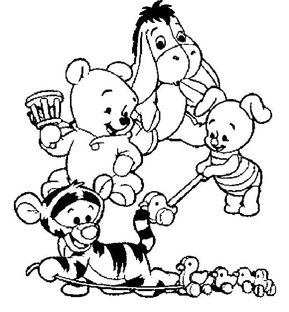 Cute baby winnie pooh with friends coloring pages