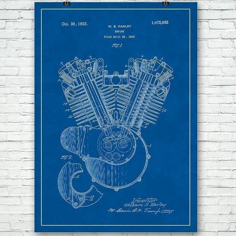 Harley Davidson motorcycle engine patent circa 1923. #harley #davidson #motorcycle #engine #patent #art #prints #posters #harleydavidson #motorcycles #bike #bikers #bikelife #bikes #motorbike #patentart #artoftheday