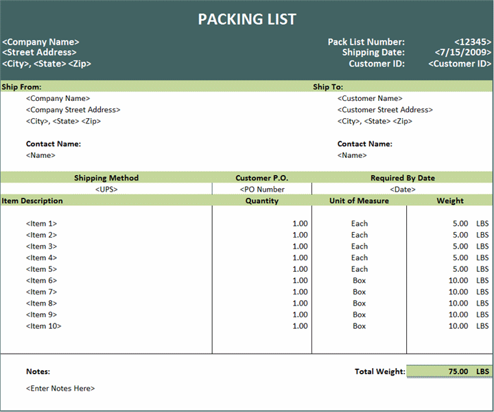 Export Packing List Template  Template    Packing List
