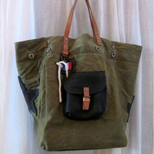 cabas sac pomponette toile kaki accessoires pinterest cabas toiles et sac. Black Bedroom Furniture Sets. Home Design Ideas