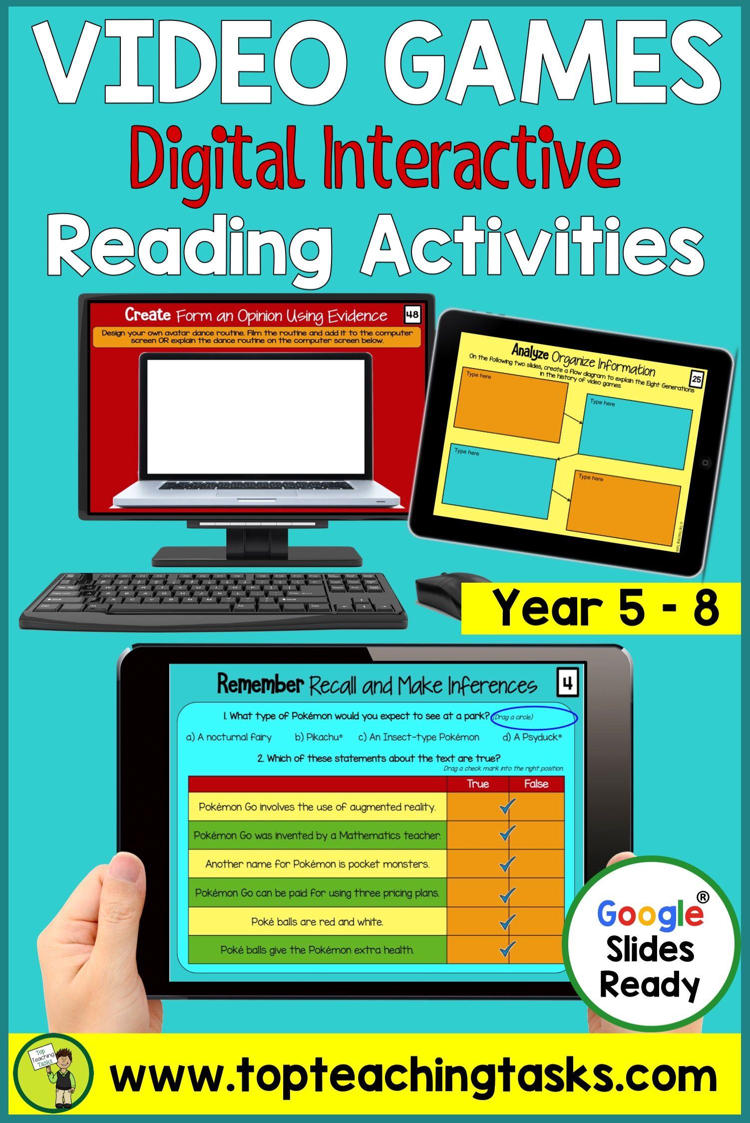 Video Games Digital Reading Activities Reading Comprehension Activities Reading Comprehension Comprehension Activities Guided reading lesson grade video