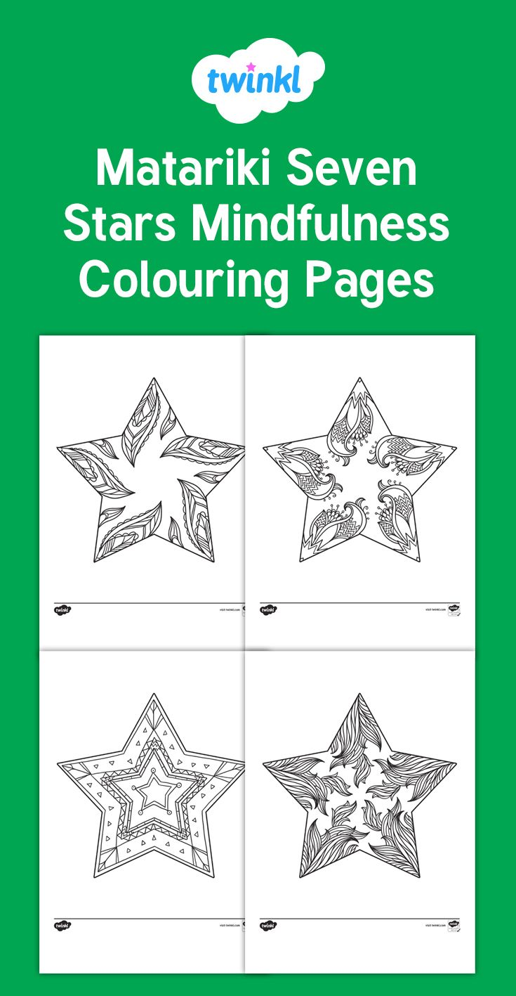 Matariki Seven Stars Mindfulness Colouring Pages - New Zealand, New ...