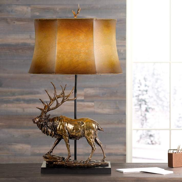 Elk Deer Antique Bronze Table Lamp With Leatherette Shade 63k19 Lamps Plus In 2021 Bronze Table Lamp Lamp Table Lamp