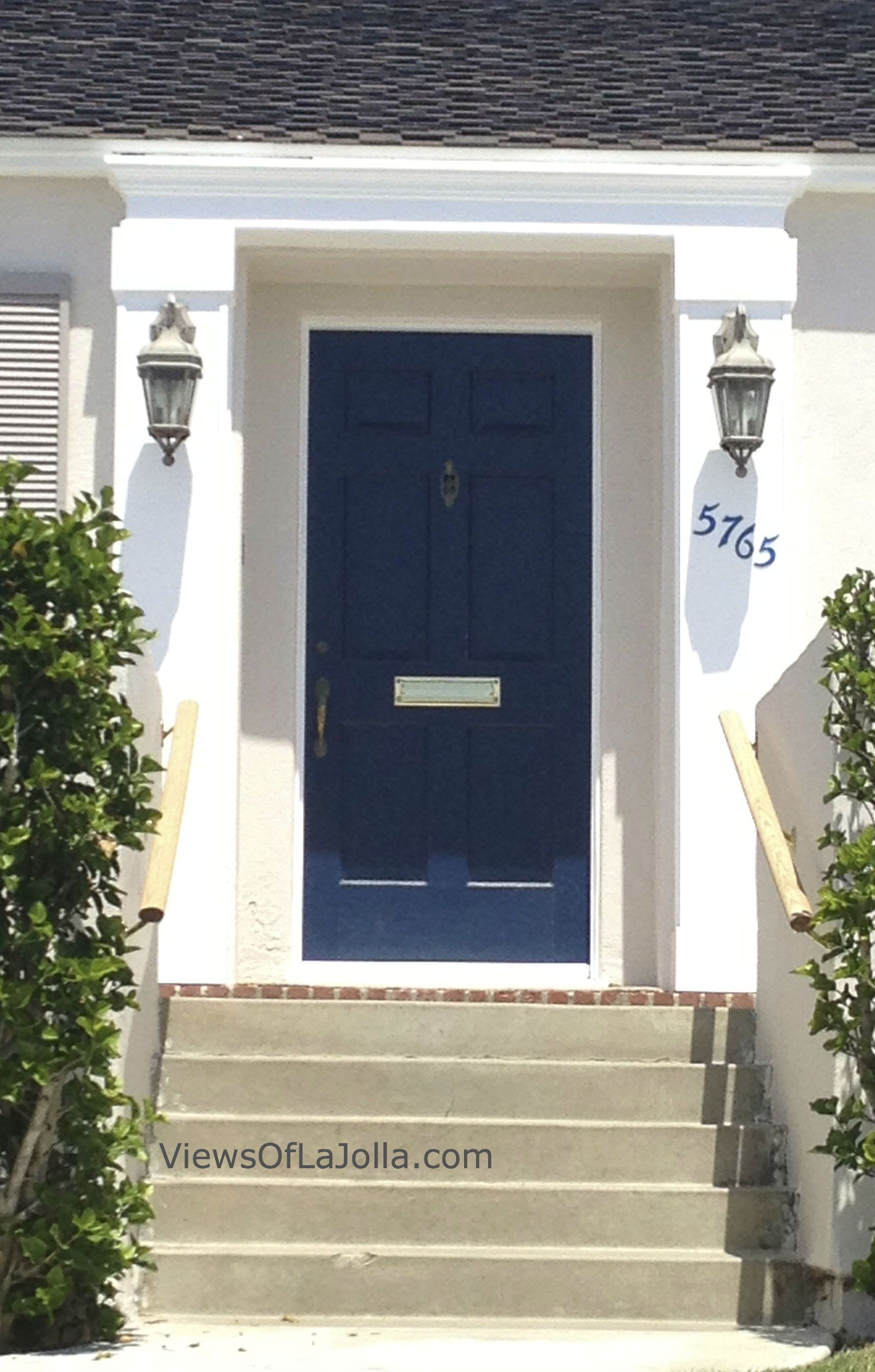 Navy cobalt blue door white house add window boxes for Blue and white house