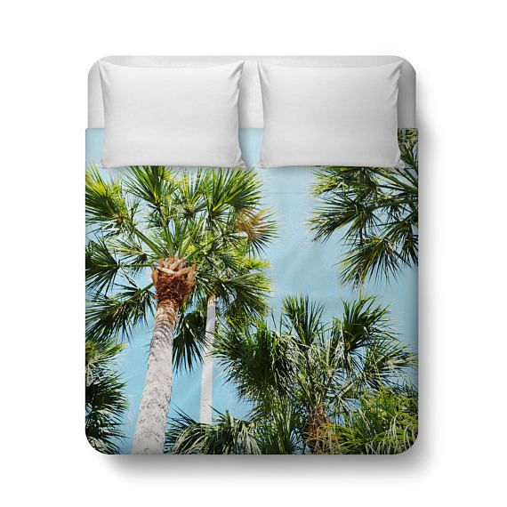 A staple view from the beaches of Florida, this duvet cover bedding accent comes highlighted with a lush and tropical display of wild palms throughout! With coastal colors of blue sky and green palms atop, this beach style bed cover accent makes for a stylish addition to your tropical home bedroom settings!  Compliment this great design with a matching set of Throw Pillows here: http://etsy.me/2pca6Pn  ~ ~  Item Description: Add a stylish bedding accent to your bedroom interior...